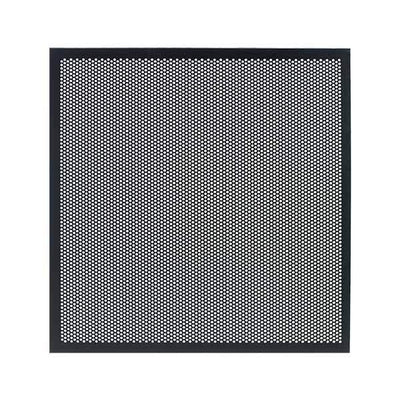 Perforated Metal Panel for Haven AV Cabinet|Add Style and Airflow to Your Haven| Replace your door glass with these attractive perforated metal panels. Lightweight aluminum perforated to create 41% open air. Black powder coat looks great with all woods and finishes. IR remote signals pass right through!
