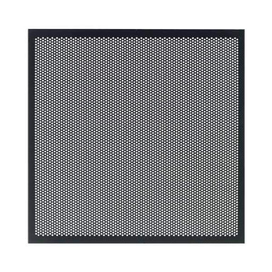 Perforated Metal Panel for Horizon AV Cabinet|Add Style and Airflow to Your Haven| Replace your door glass with these attractive perforated metal panels. Lightweight aluminum perforated to create 41% open air. Black powder coat looks great with all words and finishes. IR remote signals pass right through!