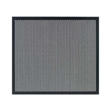 Perforated Metal Panel for Majestic AV Cabinet|Add Style and Airflow to Your Haven| Replace your door glass with these attractive perforated metal panels. Lightweight aluminum perforated to create 41% open air. Black powder coat looks great with all woods and finishes. IR remote signals pass right through!.
