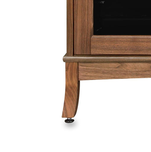 Wood media console with levelers