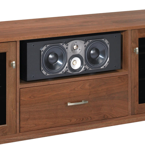 high-end media console with wide center channel speaker shelf paradigm CC-590