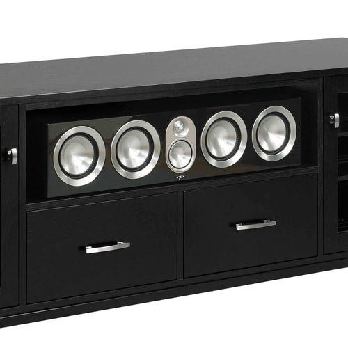 media console with wide center channel speaker shelf paradigm prestige 55c