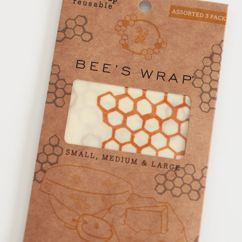 Wax Wrap - Honeycomb Print - Assorted Set Of 3 Sizes (S, M, L)