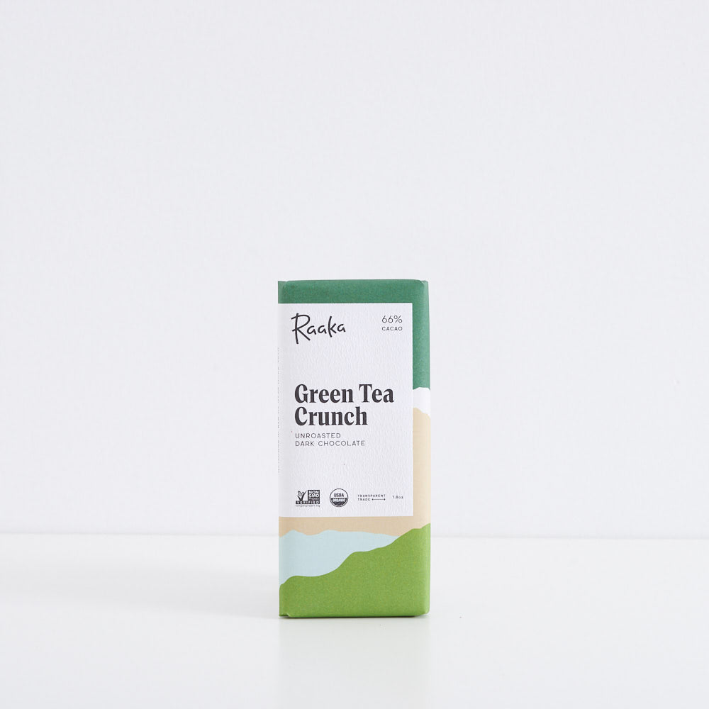 Raaka Green Tea Crunch 66% Chocolate Bar
