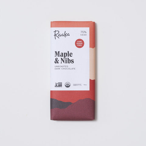 Raaka Maple & Nibs 75% Chocolate Bar