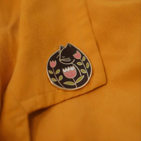 Cat Nap (Black) Enamel Pin