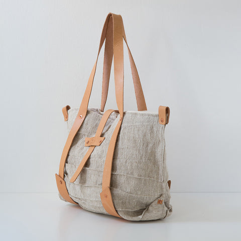 Textured Linen Tote - Oatmeal