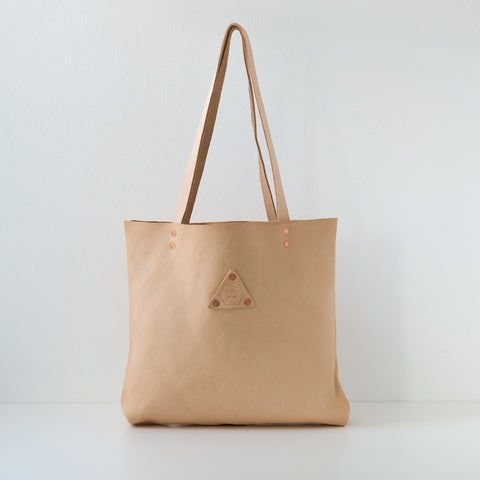 Woven Leather Tote - Natural