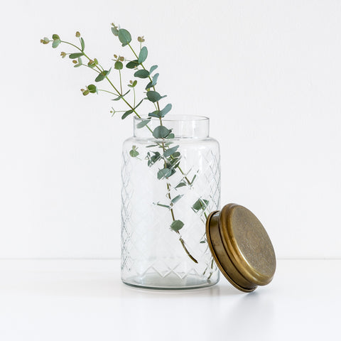 Large Etched Glass Jar