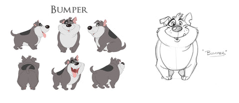 Early sketches of Bumper the dog
