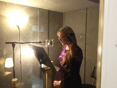 Voice actor in sound booth