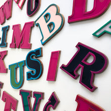 Load image into Gallery viewer, D - Medium Factory Shop Letter Ply Wood & Perspex Pink & Black
