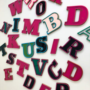 E - Medium Factory Shop Letter Ply Wood & Perspex Pink