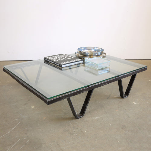 1970s Industrial Low Table With Thick Glass Top
