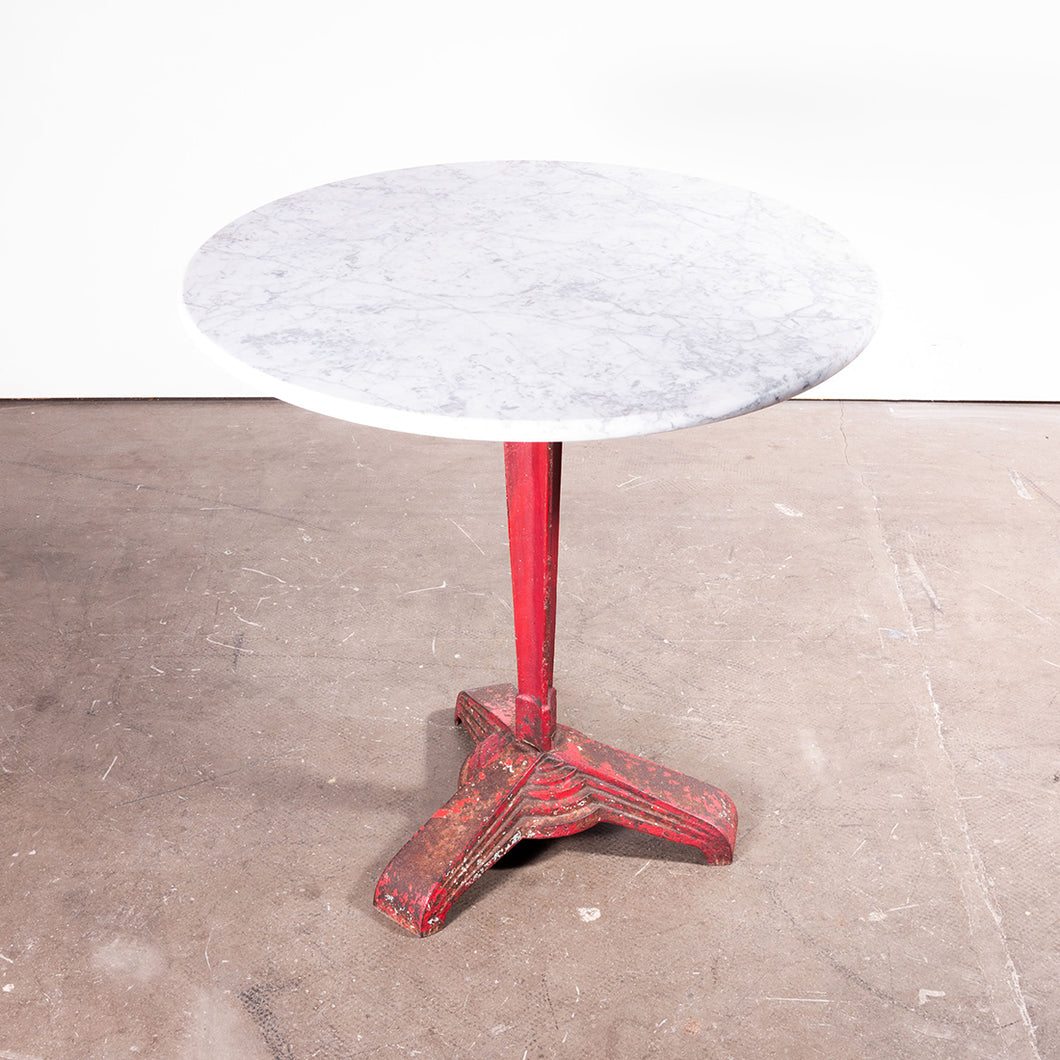 1930s Cast Metal French Bistro Dining / Side Table With Marble Top #1