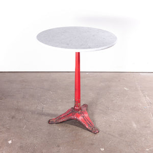 1930s Cast Metal French Bistro Dining / Side Table With Marble Top #2