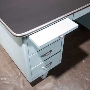 1950s Air Force Blue Metal Desk With Linoleum Top