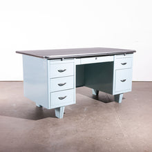 Load image into Gallery viewer, 1950s Air Force Blue Metal Desk With Linoleum Top
