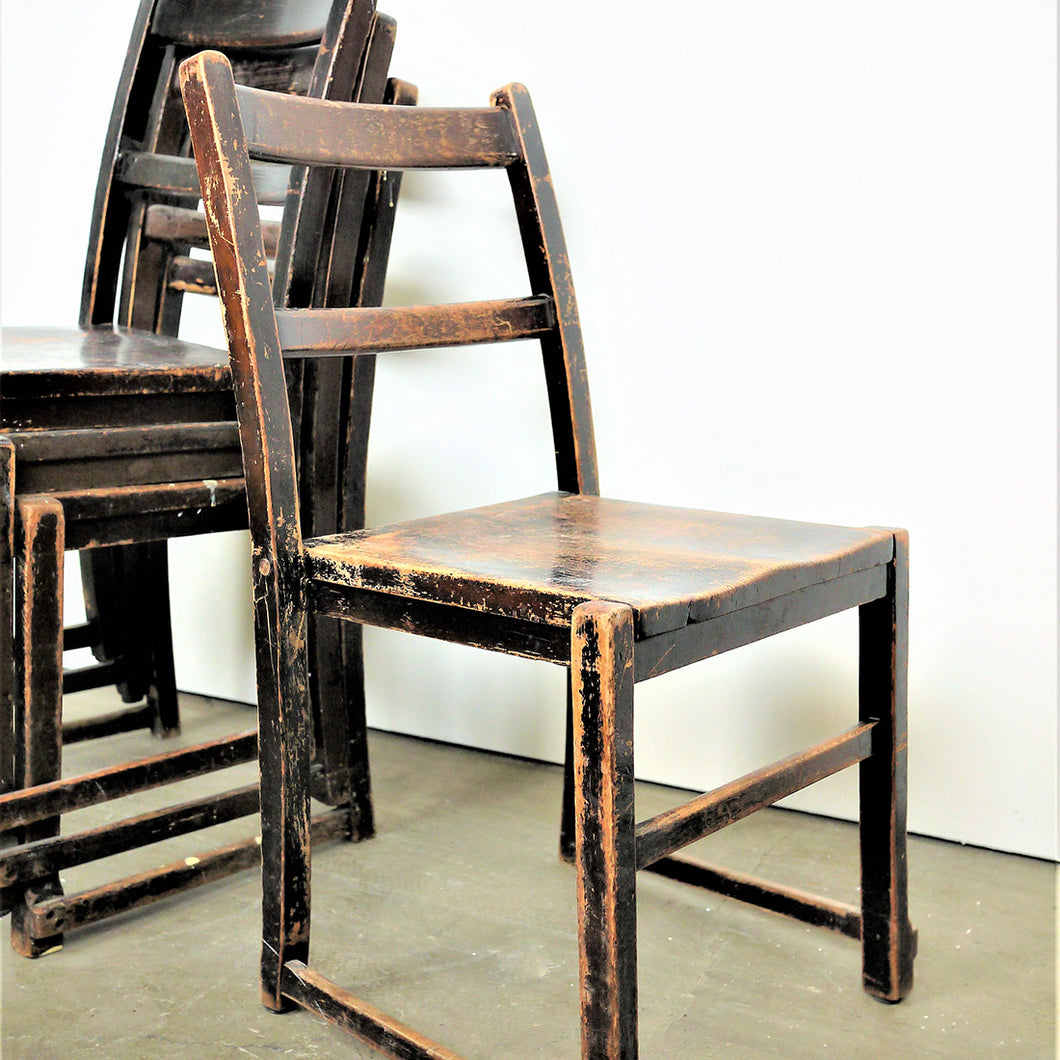 1920s Elm Ebonised Dining Chairs - Set Of Four