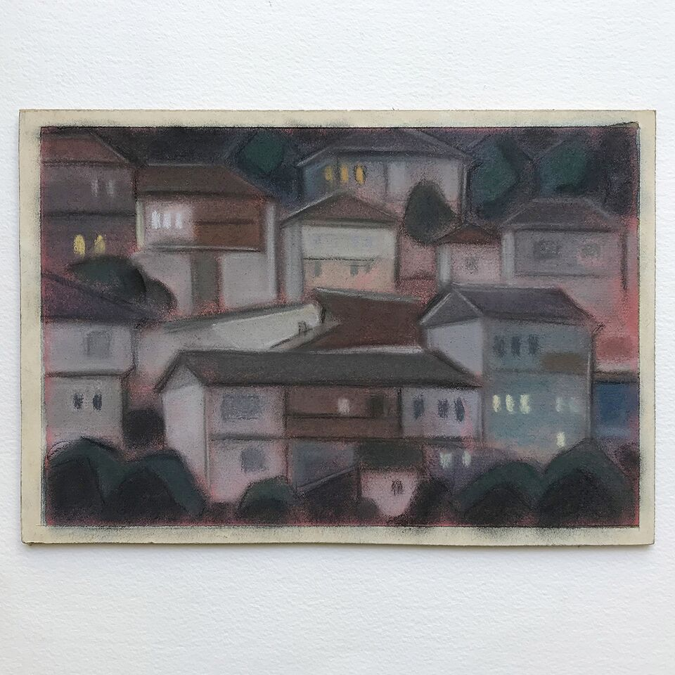 1960s Pastel - Houses at Dusk