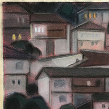 Load image into Gallery viewer, 1960s Pastel - Houses at Dusk