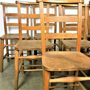 1930s Elm Church/Chapel Dining Chairs - Set Of Eight