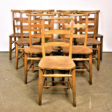 Load image into Gallery viewer, 1930s Elm Church/Chapel Dining Chairs - Set Of Eight