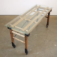 Load image into Gallery viewer, 1920s Laundry Trolley Converted To Coffee Table With Glass Top