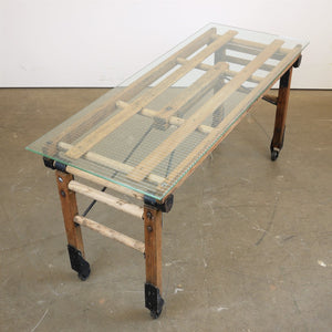 1920s Laundry Trolley Converted To Coffee Table With Glass Top