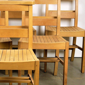 1960s Dining Church/Chapel Chairs In Beech Wood - Set Of Six