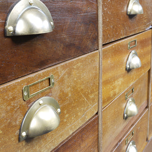 1950s Brass Frame Haberdashery Cabinet / Chest Of Drawers / Storage Cabinet