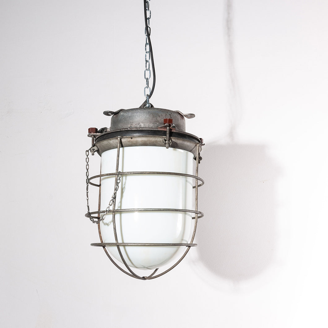 1960s Industrial Ships Ceiling Pendant Lamps/Lights - With Caged Opalescent Glass