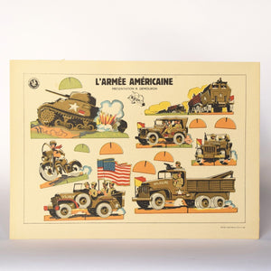 1940s Vintage Military Game Sheet - American Army