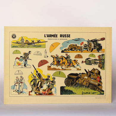 1940s Vintage Military Game Sheet - Russian Army