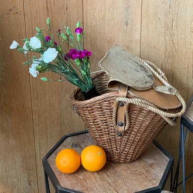 1950s French Vintage Picnic Basket