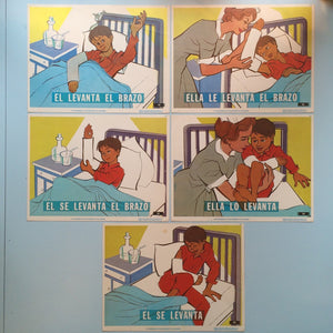 1970s Spanish Language Vintage Teaching Card - Broken Arm (Set of 5)