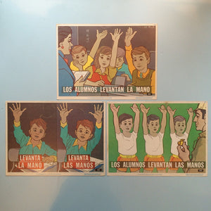 1970s Spanish Language Vintage Teaching Card - School Kids (Set of 3)