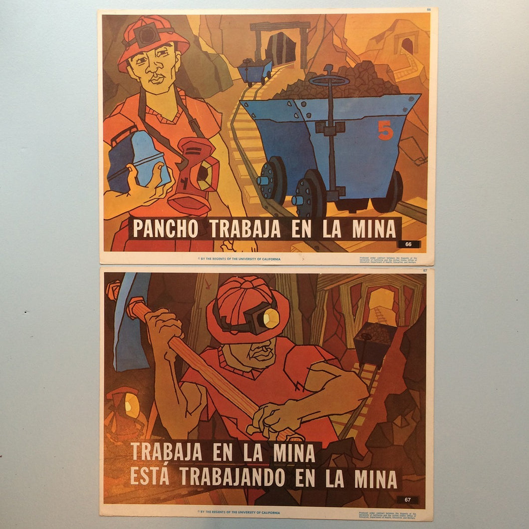 1970s Spanish Language Vintage Teaching Card - The Miners (Set of 2)