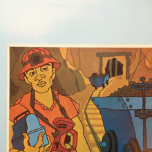 Load image into Gallery viewer, 1970s Spanish Language Vintage Teaching Card - The Miners (Set of 2)