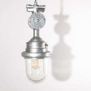 1960s Industrial Explosion Proof Ceiling Pendant Lamps/Lights - With Glass Domes - Model 1