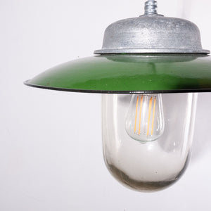 1960s French Enamelled Ceiling Pendant Lamp/Light Shades With Original Glass