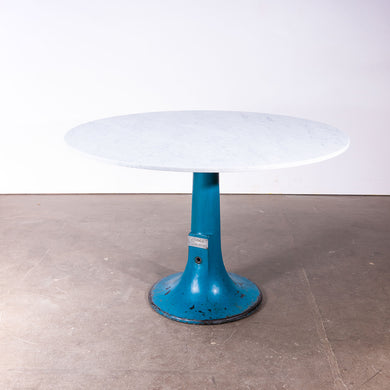 1920s Industrial Round Console Table / High Dining Table With Marble Top