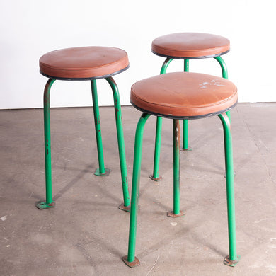 1960s Set Of Three Green Russian Industrial Stools