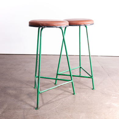 1960s Pair Of Green Russian Industrial Stools
