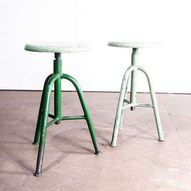 1950s Pair Of French Industrial Swivelling Stools - Green