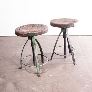 1950s Pair Of French Industrial Swivelling Welders Stools