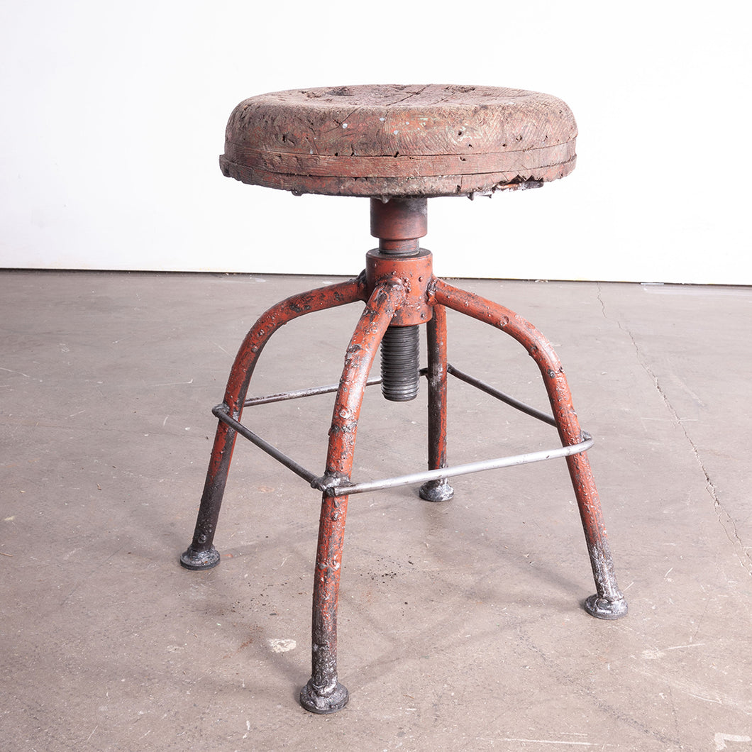 1950s French Industrial Swivelling Welders Stool #1