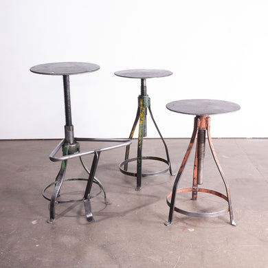 1950s Set Of Three French Industrial Swivelling Welders Stools #1