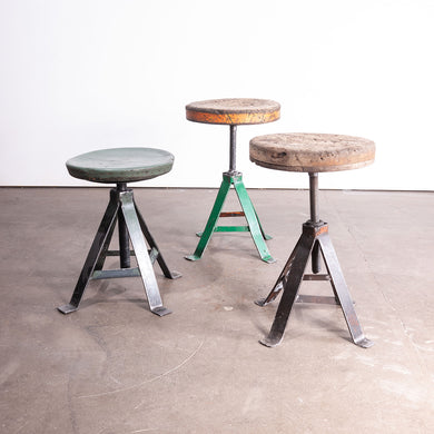 1950s Set Of Three French Industrial Swivelling Welders Stools #2