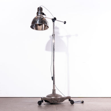 1950s Vintage Industrial Adjustable Chrome Floor Standing  Lamp/Light - Swivel Base On Wheels
